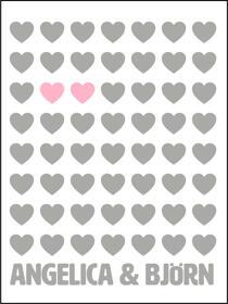 Hjärtanpar vit/grå